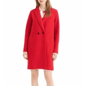 J Crew  Daphne Broiled Wool Red Topcoat